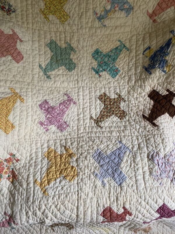 """Antique Quilt Turbo Prop Planes Feed Sack 68"""" X 80"""""""