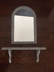 Old Solid Wood Mirror and Shelf