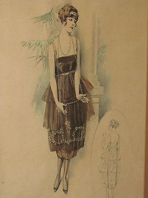 Antique Vtg Art Deco Framed Fashion Illustration Flapper Girl Dress Drawing 1920