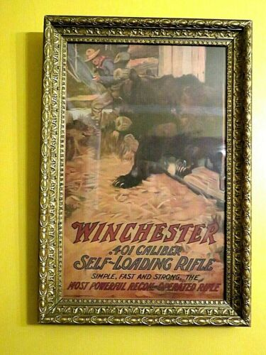 Vintage Reproduction Winchester .401 Caliber Self Loading Rifle 1909 Poster