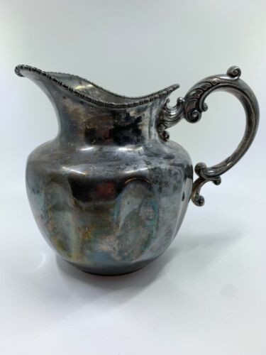 Antique Victor Silver Company melon shape silver plated pitcher ornate handle