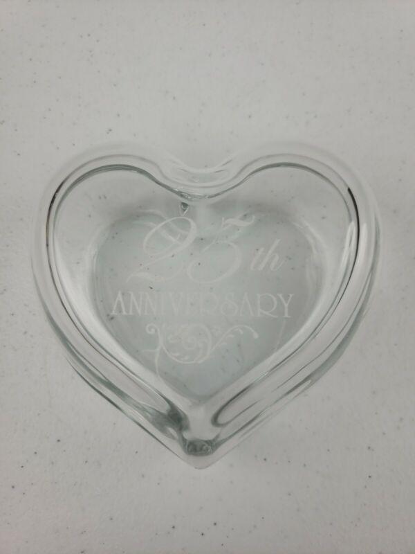 "25th Wedding Anniversary Glass Heart Shaped Trinket Box 4"""