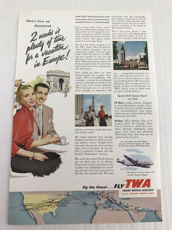 Transworld Airlines Vtg 1953 Print Ad Fly TWA