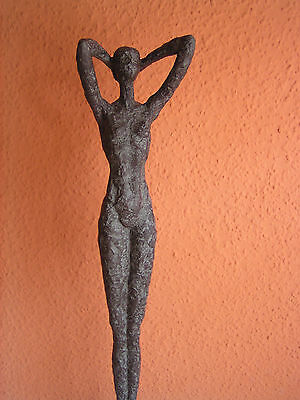 Frauenskulptur groß abstract, Bronze-Antik Optik, Polyresin, nackte Frau, 59 cm - Bronze Optik