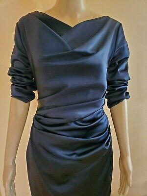 Talbot Runhof Stretch Satin Dress - Dark Navy - Size 12