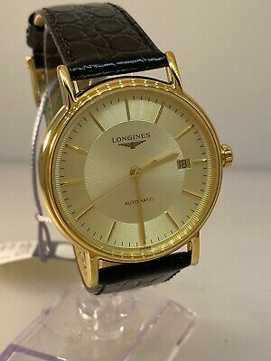 Longines Presence Automatic Stainless Steel Gold Plated Mens Watch L49212422 New