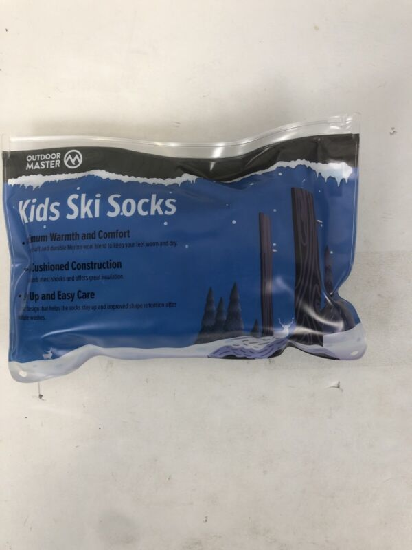 Outdoor Master Kids Ski Socks, Girls, Medium, Blue, 1 Pair