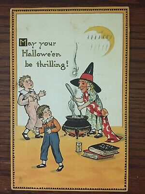 Vintage Tuck's Halloween Postcard: Witch in Mask Stirs Brew, Scares Kids, Moon