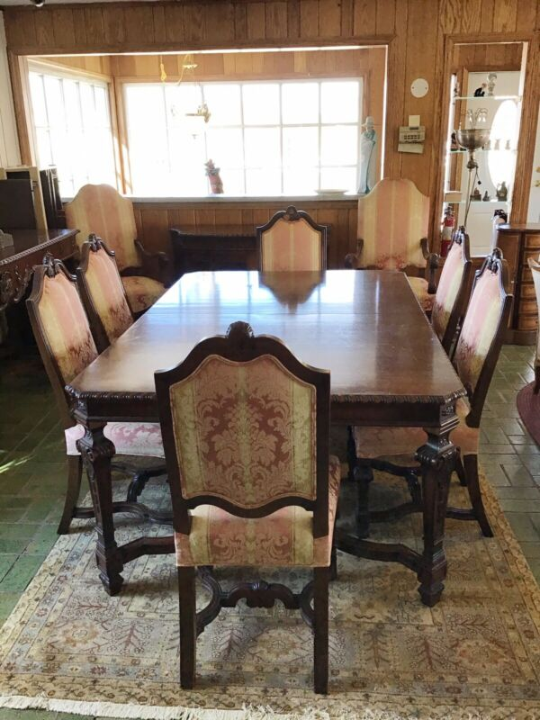 Antique American Baronial Circa 1930's Dark Walnut Dining Room Suite