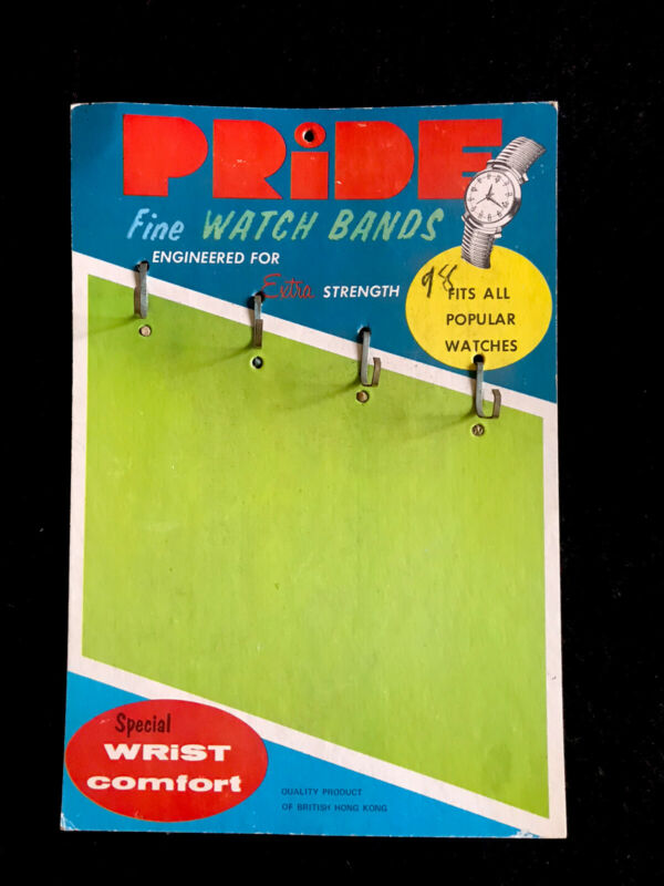 Pride Fine Watch Bands Cardboard Display Sign Product Of British Hong Kong Ad
