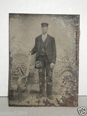 Antique TIn Plate Type Photo Man in Uniform Suit Victorian Setting