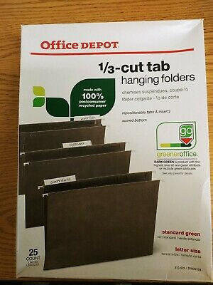 Office Depot Brand Hanging Folders 13 Cut Legal Size100 Recycled Green 25