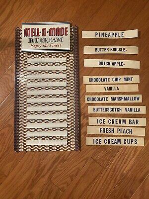 VINTAGE Tin Mell O Made Ice Cream Palor Menu Board Sign 22x10.25