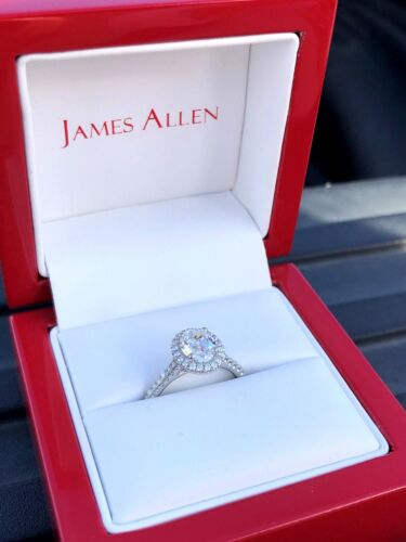Platinum & Lab Created Oval Diamond Halo Engagement Ring 1.46 ct. Total Weight