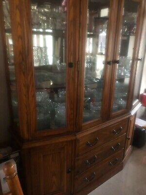 Dining Room Traditional China Cabinet - ELEGANT ,DINING ROOM SET -  TRADITIONAL 8 CHAIR 2  LEAVES AND CHINA CABINET