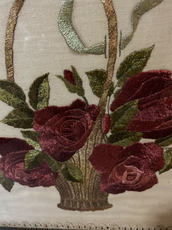 Antique Needlework Basket Of Roses Aafa