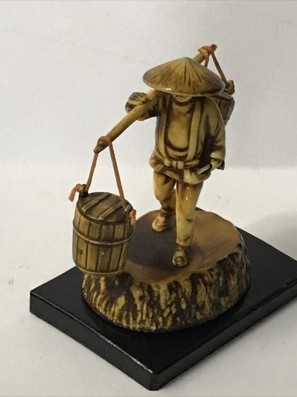 """Vintage Japanese Celluloid Figurine Water Man Carrying Bucket 3"""""""
