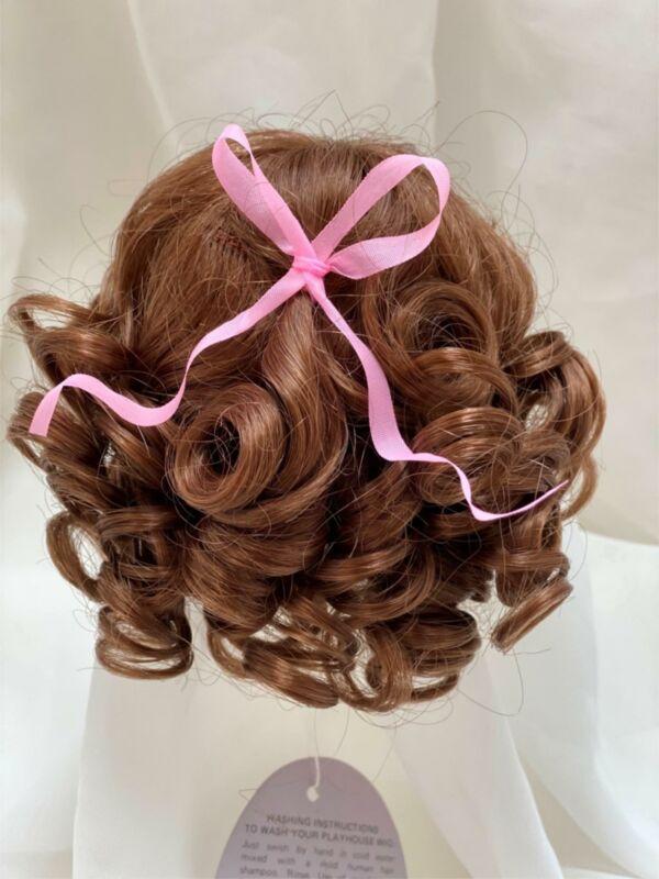 """7/8"""" Curls Bow Bangs Auburn Doll Wig Reborn OOAK BJD Bisque Repair CONNIE"""