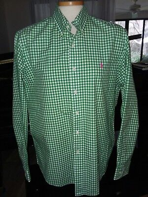 Young Men's Large Custom Fit Ralph Lauren Green Check Button Up Shirt St. Party'