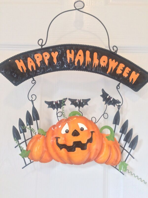Happy Halloween 3D Black Metal Tin Wall Hanging Sign Bats Pumpkin Graveyard NEW