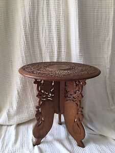 Small ornate carved timber coffee table side table Kincumber Gosford Area Preview
