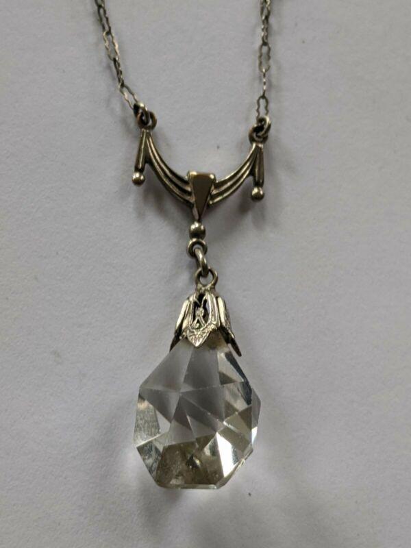 Antique Art Deco Clear Crystal Drop Necklace