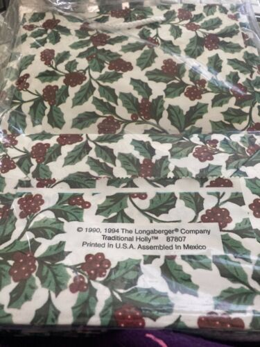 Vtg NIP Longaberger 5 Gift Bags 1990/94 Traditional Holly