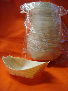 Bamboo oval canape serving boat 8 5cm x 5cm brand new 50 for Bamboo canape boats