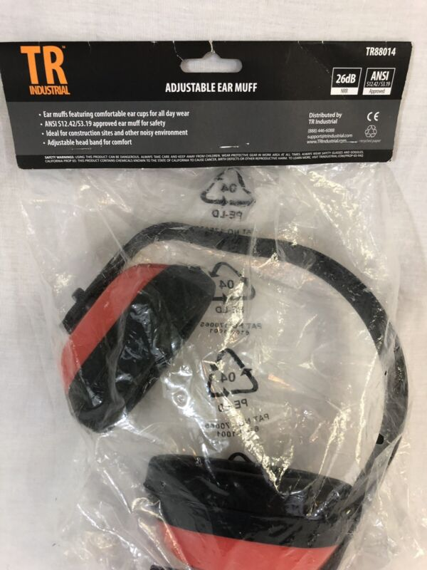 TR INDUSTRIAL SAFETY EAR MUFFS ANSI S3.19 APPROVED RED ADJUSTABLE HEAD BAND