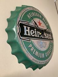 Authentic Vintage Heineken Large Clock Retro Man Cave Bar Plaque Wall Decor