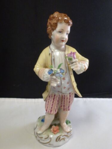 Carl Thieme Dresden China Figurine Young Boy  with flowers