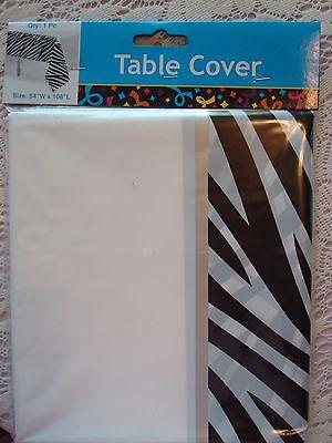 Zebra Striped Plastic Tablecloth; Safari Baby Shower; Kate Spade Birthday, decor