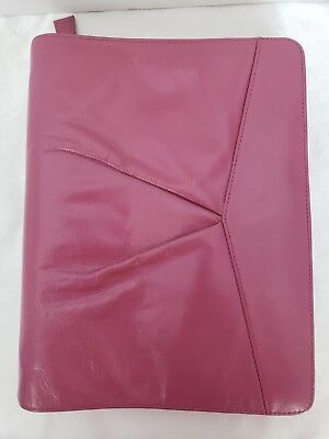 Franklin Covey Classic Pink Leather Unstructured Zip Binder 1 18 Rings