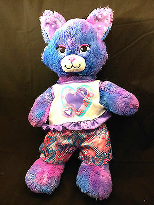 "Stars A Glow Kitty Cat Build a Bear Heart Clothes Purple 18"" Plush BAW Sound"
