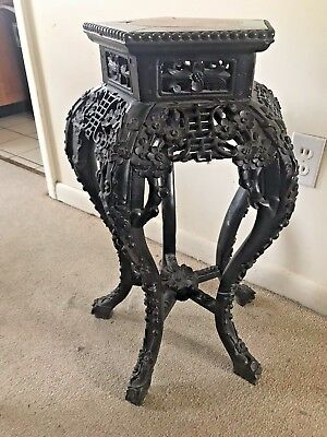 Chinese 19th Century Carved Hardwood Stand With Marble Center Large