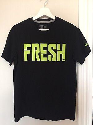 Mens New Era T Shirt. Size XS. Black/green. 'Fresh' Motif. Excellent Condition