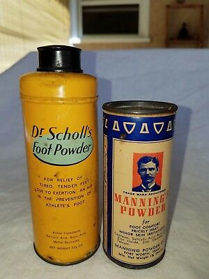 (Vintage Manning's & Dr Scholls Foot Powder Can / Tins Both Approx. 3/4 full)
