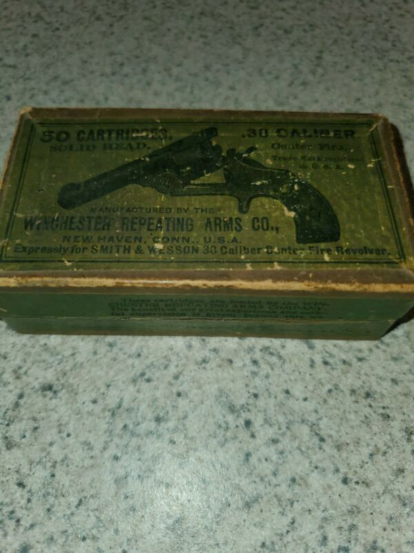Vintage Very Old Winchester Repeating Arms Co. .38 Caliber Green Label Ammo Box