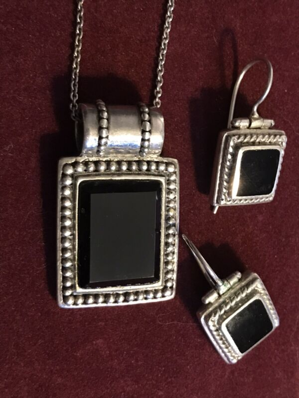 """Sterling Silver ONYX NECKLACE  HINGED ONYX EARRINGS JEWELRY LOT 18-20"""""""