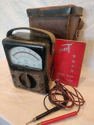 Vintage Triplett Volt Ohm Meter Model 630-a Probes Manual Case. Working Nice.