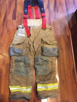 Firefighter Janesville Lion Apparel Turnout Bunker Pants 42x32 2009 W Suspenders