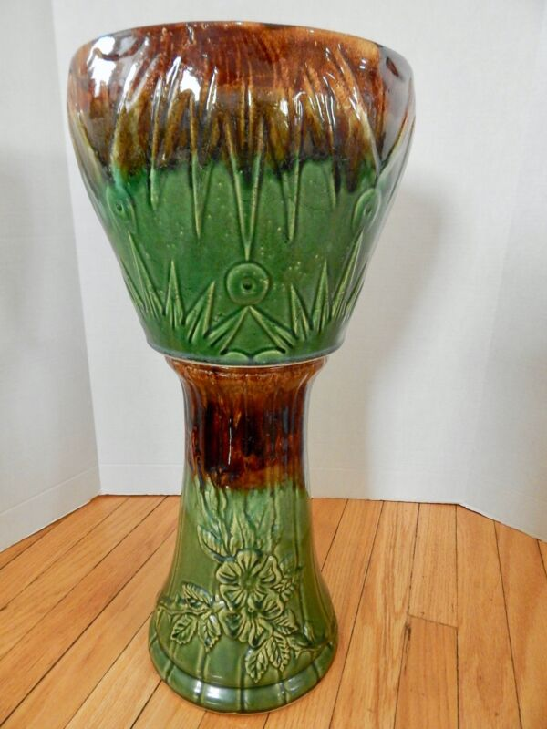 Vintage McCoy Pottery Jardiniere Planter Pedestal Green Brown Moon Sun 2 Piece
