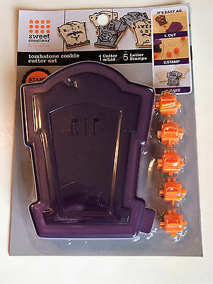 Halloween Cookie Cutters Martha Stewart (Sweet Creations - Halloween Tombstone Cookie Cutter Set - With Letter Stamps)