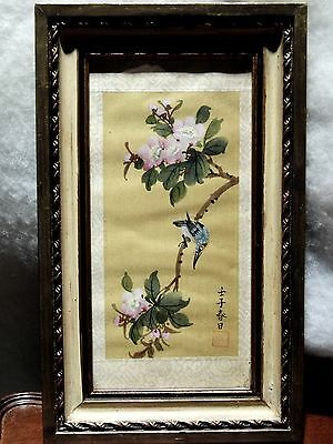 Vintage Hand Painted Signed Chinese Oriental Framed Silk Painting Bird Flowers