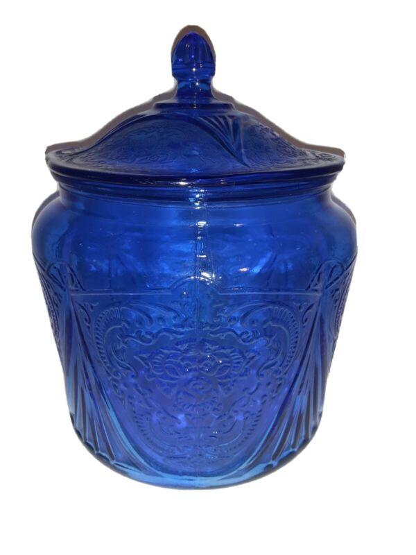 VINTAGE depression Glass Royal Lace Cobalt Blue Cookie or Biscuit Jar