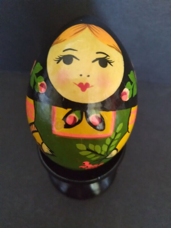 Vtg Russian Folk Art Hand Painted Wooden Egg Female Figure With Stand