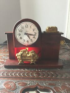 Vintage lanshire electrical fireplace mantel clock