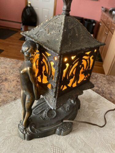 Vintage Art Deco Table Lamp Asian Style Pagoda Dragon 2 Nude Females Working