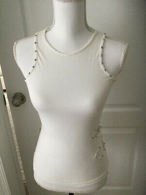 Versace Jeans Couture White Studded Tank Top T- Shirt size XS