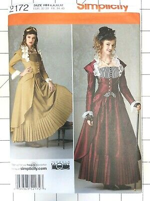 Steampunk Cosplay Sewing Patterns Women Size 6 8 10 12 Simplicity 2172 Uncut